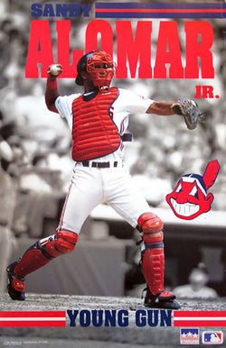"Sandy Alomar Jr. ""Young Gun"" Cleveland Indians Catcher Action Poster - Starline Inc. 1991"