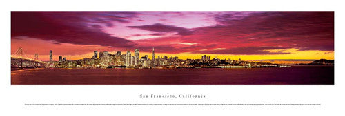 "San Francisco, California ""Orange Dusk"" Skyline Panorama - Blakeway Worldwide"