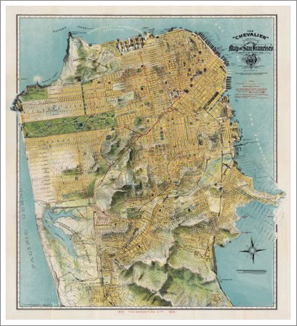 San Francisco, California 1915 Classic Chevalier Map Premium Poster Print - McGaw Graphics