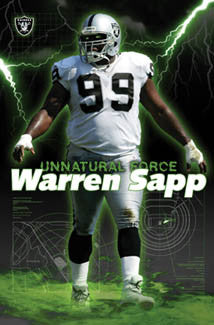 "Warren Sapp ""Unnatural Force"" Oakland Raiders Poster - Costacos 2004"