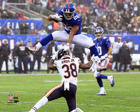 "Saquon Barkley ""Over Amos"" (2018) New York Giants Premium Poster Print - Photofile 16x20"
