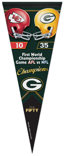 Super Bowl I (Green Bay Packers vs. Chiefs) Official Commemorative Premium Felt Pennant - Wincraft