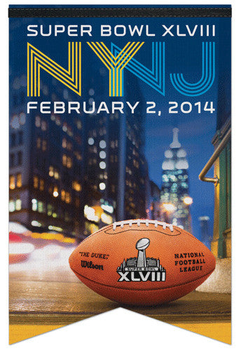"Super Bowl XLVIII (2014) ""NYNJ"" Official Premium Felt Commemorative Banner - Wincraft"
