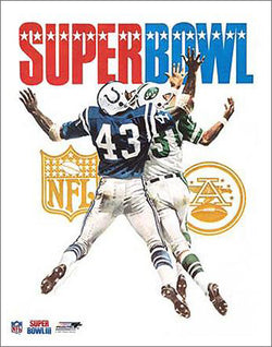 Super Bowl III (1969) Jets vs Colts Official Event Poster Premium Reprint Edition - Photofile Inc.