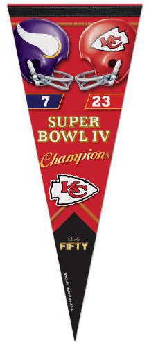 Super Bowl IV (Kansas City Chiefs vs. Vikings) Official Commemorative Premium Felt Pennant