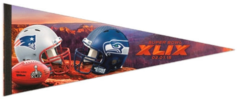 Super Bowl XLIX (Seahawks vs. Patriots) Premium Felt Commemorative Pennant - Wincraft 2015