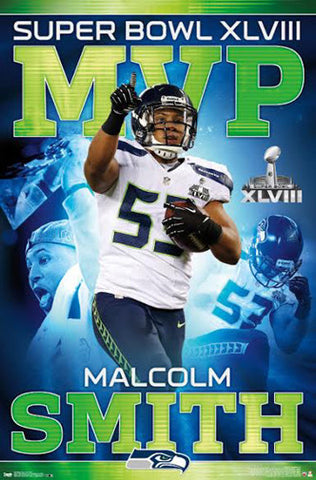 Malcolm Smith Seattle Seahawks Super Bowl XLVIII MVP (2014) Poster - Costacos Sports