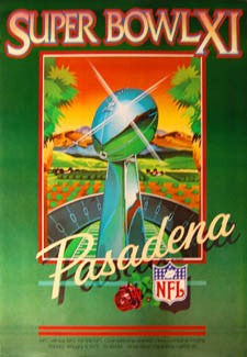 Super Bowl XI (Pasadena 1977) ORIGINAL Official Event Poster - NFL Properties Inc.