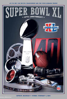 Super Bowl XL (Detroit 2006) Official Theme Art Event Poster - Action Images
