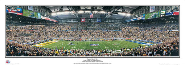 Super Bowl XL Panorama (Steelers 21 Seahawks 10, Ford Field, Detroit) - Everlasting Images