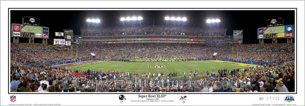 Super Bowl XLIII (2009) Pittsburgh Steelers vs Arizona Cardinals Panoramic Print - Everlasting