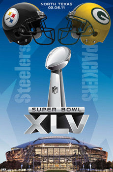 "Super Bowl XLV Pittsburgh Steelers vs Green Bay Packers ""Duelling Helmets"" Poster - Costacos 2011"