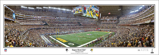 Super Bowl XLV (Green Bay Packers vs. Steelers at Cowboys Stadium 2011) Panoramic Poster Print - Everlasting Images