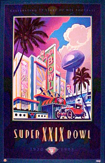 Super Bowl XXIX Official Poster - Norman James Corp. 1994