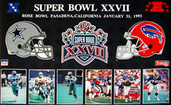Super Bowl XXVII Dallas Cowboys vs. Buffalo Bills Duelling-Helmets Poster - Starline 1993