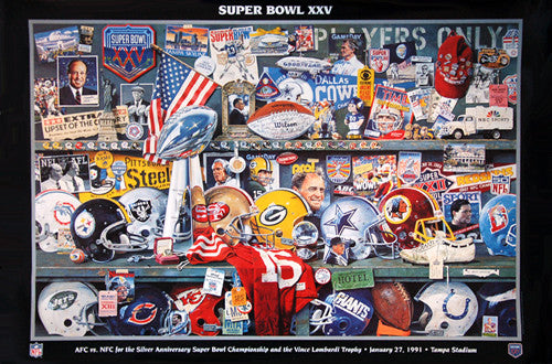 Super Bowl XXV (January 27, 1991) Official Theme Art Event Poster - Vintage Original