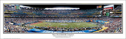 Super Bowl XXXVII Champions (Tampa Bay Bucs vs. Raiders) Panoramic Poster Print - E.I.