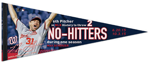 Max Scherzer Two No-Hitters (2015) Washington Nationals Commemorative Felt Pennant - Wincraft