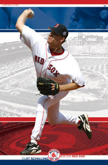 "Curt Schilling ""Fenway Flamethrower"" Boston Red Sox Poster - Costacos 2004"