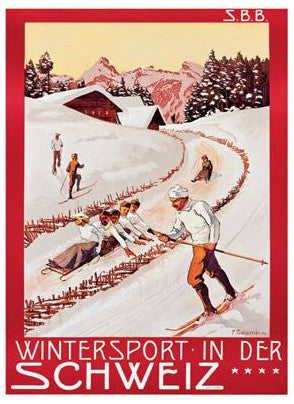 "Vintage Skiing ""Wintersport in der Schweiz"" (P. Colombi, 1904) Poster Reprint - A.A.C. Inc."