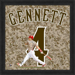 "Scooter Gennett ""Number 4"" Cincinnati Reds Camo Style MLB FRAMED 20x20 UNIFRAME PRINT - Photofile"