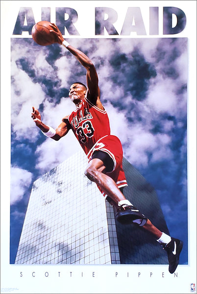 "Scottie Pippen ""Air Raid"" Chicago Bulls NBA Basketball Action Poster - Costacos Brothers 1992"