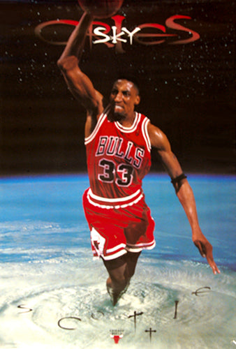 "Scottie Pippen ""Sky Cries Scottie"" Chicago Bulls NBA Action Poster - Costacos 1997"