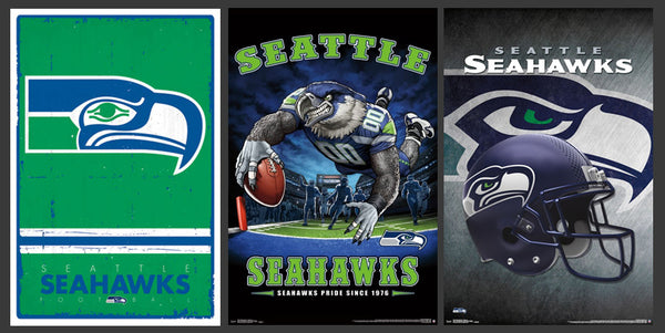 COMBO: Seattle Seahawks Football STYLE 3-Poster Combo Set 2017 (Retro, Art, Helmet-Logo Posters)