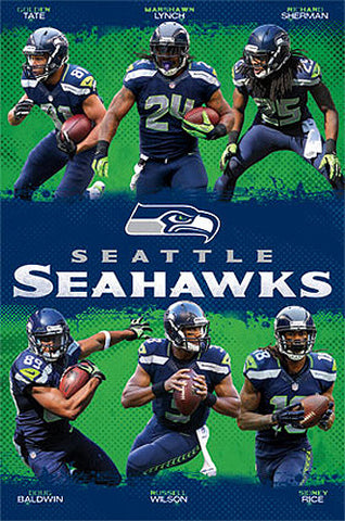 "Seattle Seahawks ""Super Six"" NFL Football Action Poster - Costacos 2013"