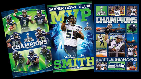 COMBO: Seattle Seahawks Super Bowl Champions Commemorative 3-Poster Combo Set