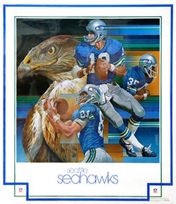 Seattle Seahawks 1979 NFL Theme Art Poster by Chuck Ren - DAMAC Inc.