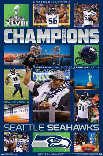 "Seattle Seahawks Super Bowl XLVIII ""CELEBRATION"" (2014) Poster - Costacos"