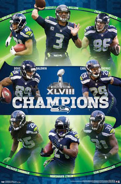 Seattle Seahawks Super Bowl XLVIII Champions Commemorative Poster (2014) - Costacos Sports