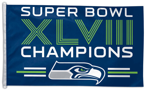 Seattle Seahawks Super Bowl XLVIII (2014) Champs HUGE 3'x5' Flag - Wincraft