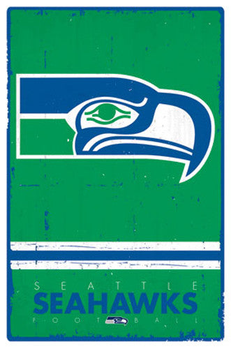 Seattle Seahawks NFL Heritage Series Official NFL Football Team Retro Logo Poster - Trends