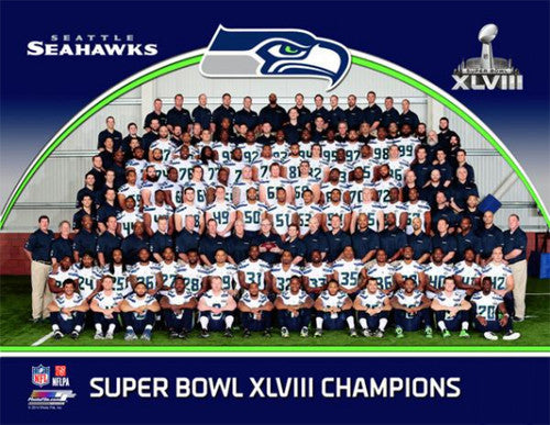 Seattle Seahawks Super Bowl XLVIII Champions Official Team Portrait Premium Poster Print - Photofile