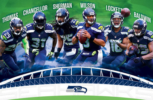 "Seattle Seahawks ""Super Six"" (2016) Poster - Wilson, Sherman, Chancellor, Baldwin ++"