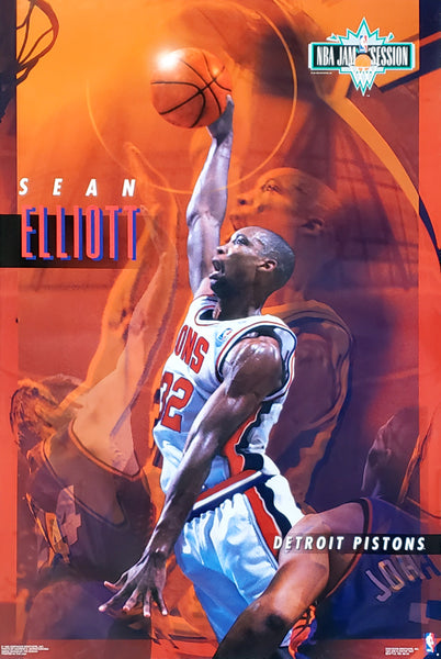 "Sean Elliott ""Jam Session"" Detroit Pistons NBA Action Poster - Costacos Brothers 1993"