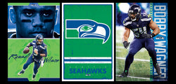 COMBO: Seattle Seahawks NFL Football 3-Poster Combo Set (Russell Wilson, Wagner, Classic Logo)
