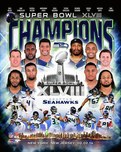 Seattle Seahawks Super Bowl XLVIII Champions 10-Player Commemorative Premium Poster Print - Photofile Inc.