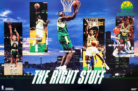 "Seattle Supersonics ""The RIght Stuff"" Poster (Kemp, Payton, Schrempf, Gill, McMillan) - Costacos Brothers 1994"