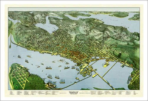 Seattle, Washington 1891 Classic Aerial Map Premium Poster Print (Augustus Koch)