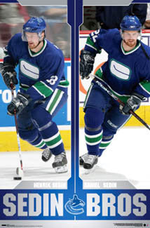 "Henrik and Daniel Sedin ""Sedin Bros"" Vancouver Canucks NHL Hockey Poster - Costacos 2007"