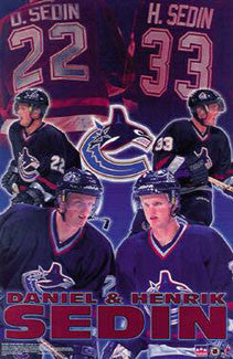 "Henrik and Daniel Sedin ""22 & 33""  Vancouver Canucks NHL Action Poster - Starline 2000"