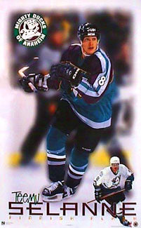 "Teemu Selanne ""Masterpiece"" Anaheim Mighty Ducks NHL Action Poster - Norman James Corp. 1998"