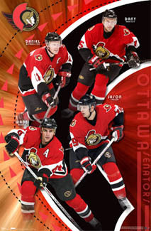 "Ottawa Senators ""Red Dawn"" NHL Action Poster (Redden, Spezza, Alfredsson, Heatley) - Costacos 2007"
