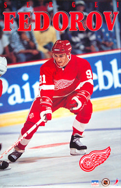 "Sergei Fedorov ""Action"" Detroit Red Wings NHL Poster - Starline 1993"