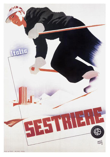 Skiing in  Sestriere, Italy c.1935 Vintage Ski Poster Reprint - AAC Inc.