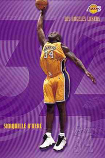 "Shaquille O'Neal ""Big Purple"" L.A. Lakers NBA Action Poster - Costacos 2001"