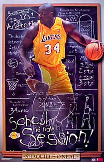 "Shaquille O'Neal ""Blackboard Shaq"" Vintage Lakers Poster - Starline 2001"
